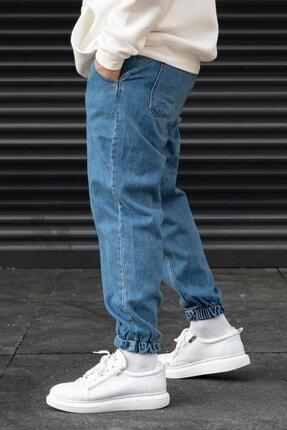 Modayı Tıkla Erkek Mavi Oversize Boyfriend Paçası Cırt Cırtlı Jogger Kot Pantolon 3