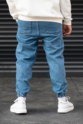 Modayı Tıkla Erkek Mavi Oversize Boyfriend Paçası Cırt Cırtlı Jogger Kot Pantolon 4