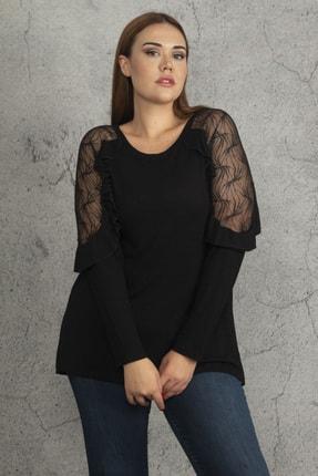 Ebsumu Kadın Siyah Büyük Beden Kol Fırfırlı Transparan Detaylı Bluz 2