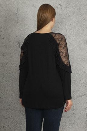 Ebsumu Kadın Siyah Büyük Beden Kol Fırfırlı Transparan Detaylı Bluz 4
