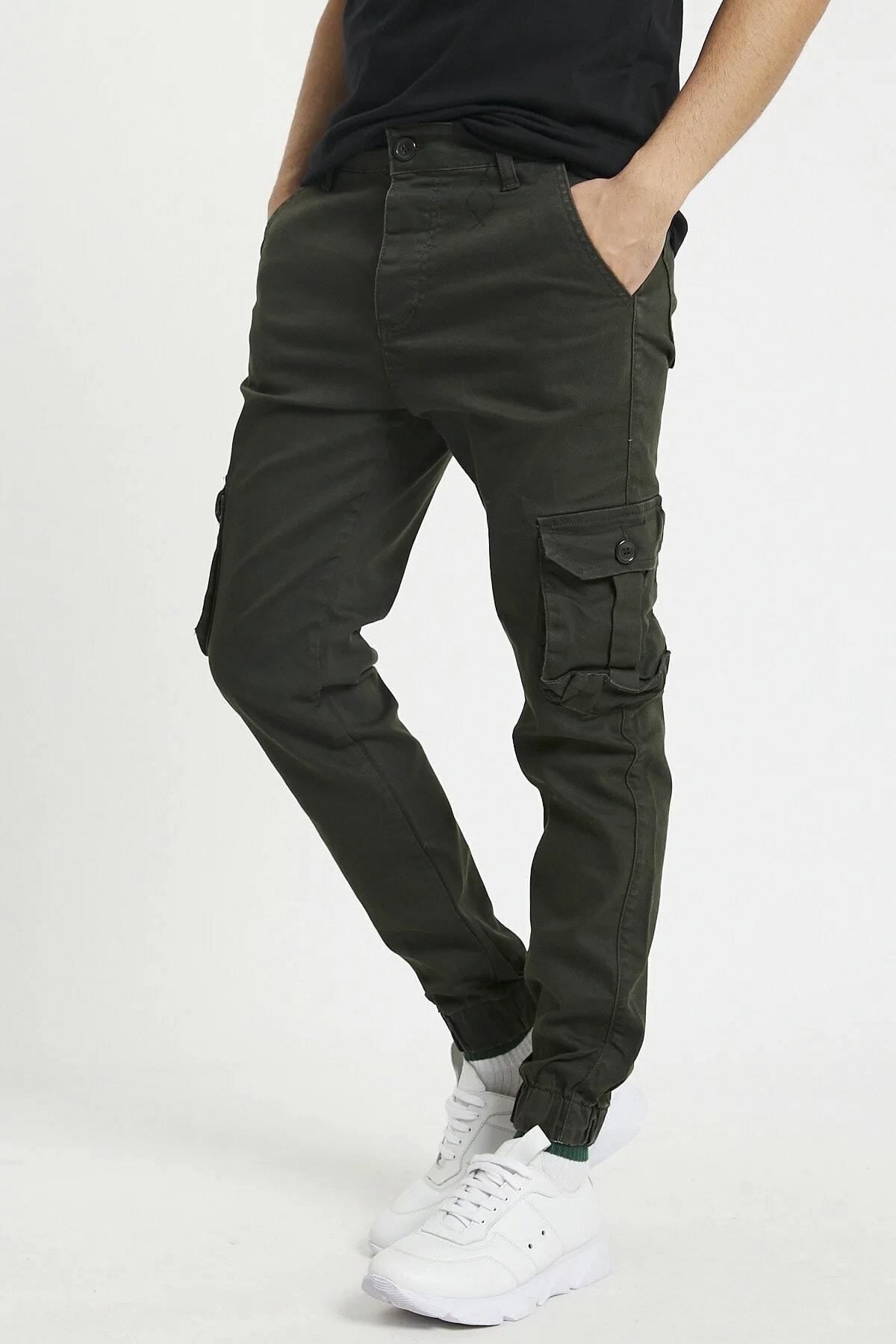 Erkek Haki Slim Fit Kargo Cep Likralı Pantolon