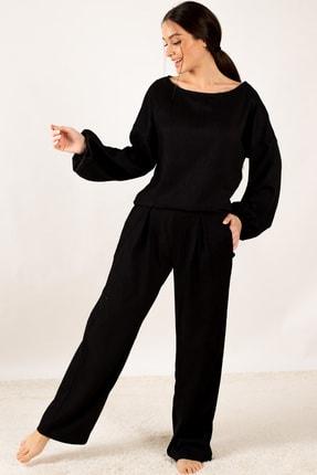 armonika Kadın Siyah Kolu Lastikli Fitilli Salaş Triko Takım ARM-21K001074 1