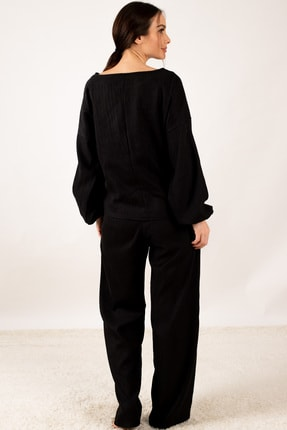 armonika Kadın Siyah Kolu Lastikli Fitilli Salaş Triko Takım ARM-21K001074 2