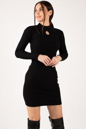 armonika Kadın Siyah Önü Pencereli Fitilli Triko Elbise ARM-21K108007 1
