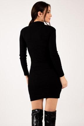 armonika Kadın Siyah Önü Pencereli Fitilli Triko Elbise ARM-21K108007 2