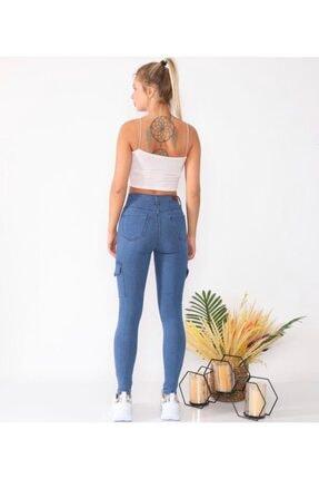 Mstrendbutik Kadın Mavi Yüksek Bel   Kargo Cep  Kot Pantolon 2