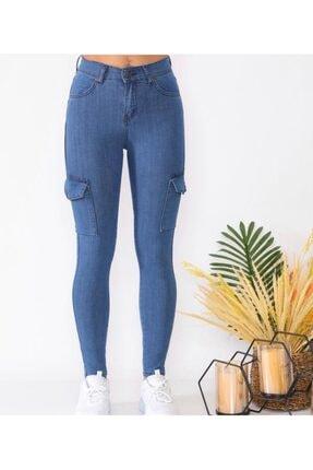 Mstrendbutik Kadın Mavi Yüksek Bel   Kargo Cep  Kot Pantolon 3