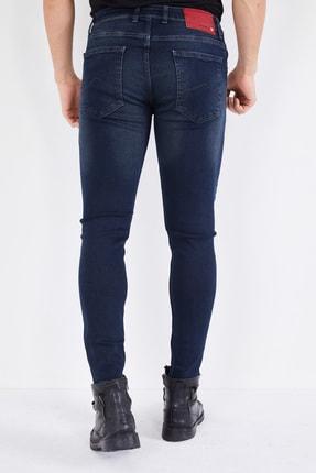 DİFRANSEL Erkek Koyu Lacivert Tırnaklı Skinny Likralı Dar Paça Kot Pantolon 4