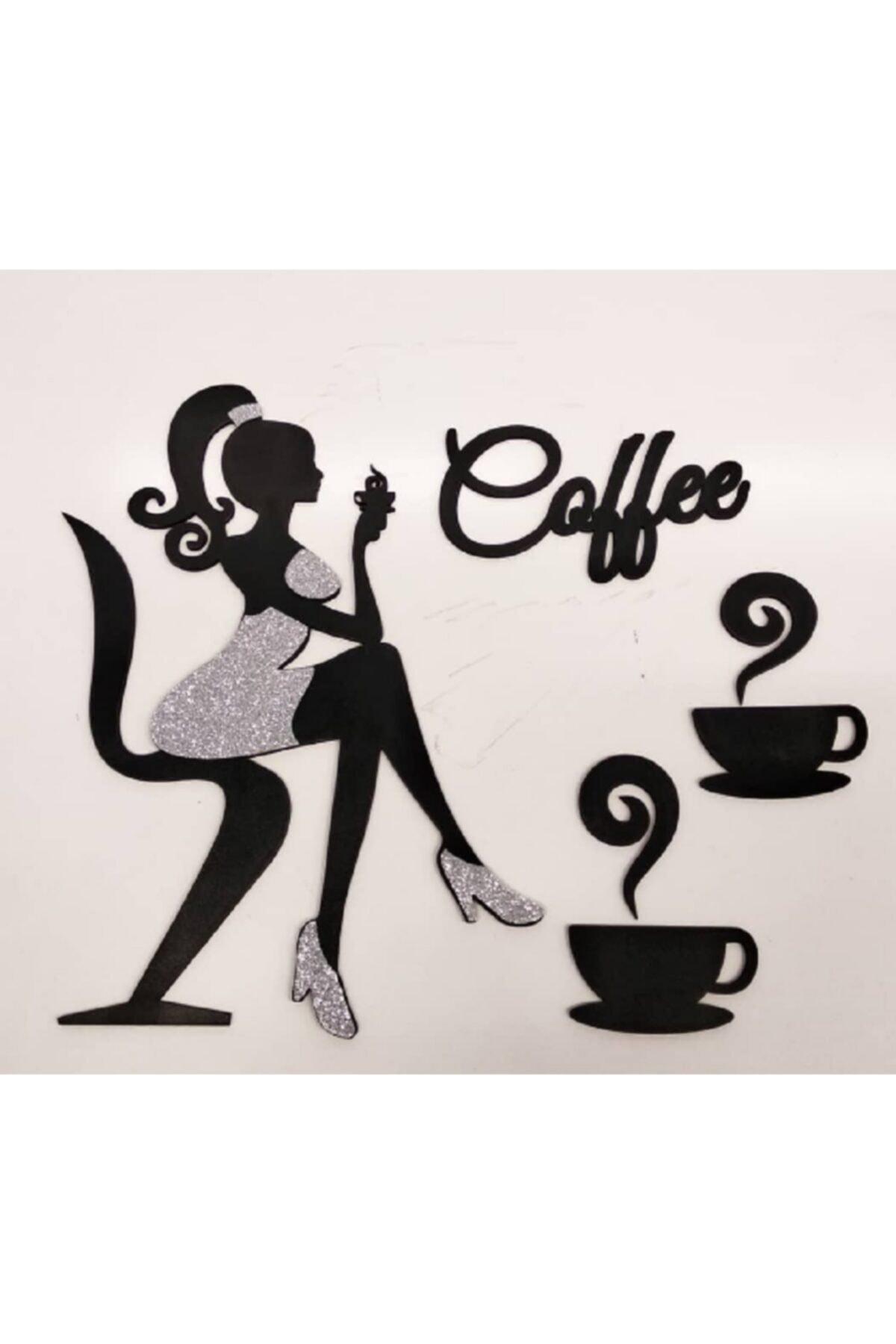 Simli Kız Silüeti Kahve Yazısı Mutfak Duvar Dekoru