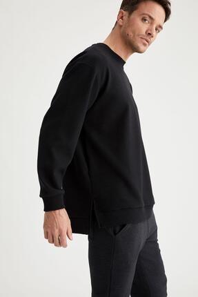 Defacto Erkek Siyah Oversize Fit Bisiklet Yaka Basic Sweatshirt 0