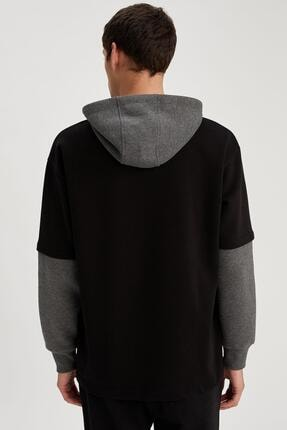 Defacto Fit Erkek Siyah Fit Kapüşonlu Sweatshirt 3