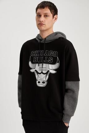 Defacto Fit Erkek Siyah Fit Kapüşonlu Sweatshirt 4