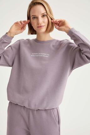 Defacto Kadın Lila Yazı Baskılı Relax Fit Sweatshirt 1