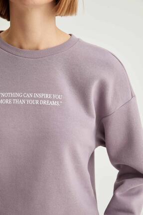 Defacto Kadın Lila Yazı Baskılı Relax Fit Sweatshirt 2