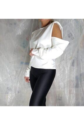 Aktrist Kadın Ekru Kol Dekolteli Sweatshirt 0