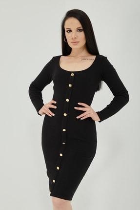 Qupa Butik Önü Düğmeli Kaşkorse Elbise 0