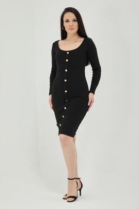 Qupa Butik Önü Düğmeli Kaşkorse Elbise 3