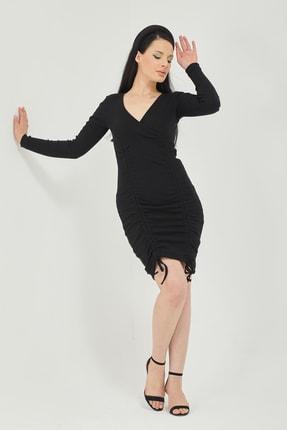 Qupa Butik Önü Büzgülü Kruvaze Yaka Kaşkorse Elbise 4