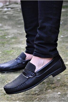 ALBİDÜNYA Erkek Siyah Günlük Baska Detay Modelli Ayakkabı 0