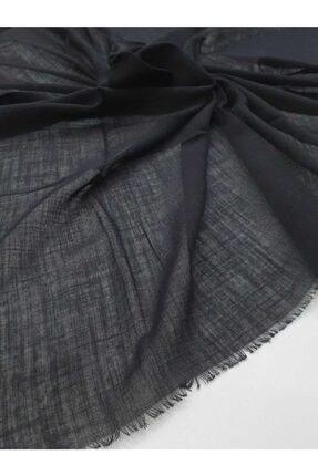 BENLİ Kadın Siyah Düz Flamlı Koton Eşarp 1