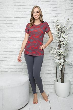 MyBen Kadın Bordo Renkli Kısa Kollı Taytlı Pijama Takımı 28241 0