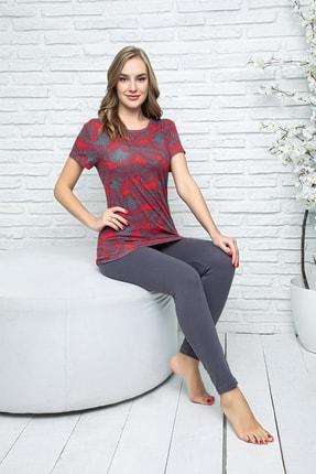 MyBen Kadın Bordo Renkli Kısa Kollı Taytlı Pijama Takımı 28241 1