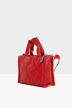 Bagmori Kadın Kırmızı  Oval Nakışlı Puf Şişme Çanta M000005405 1