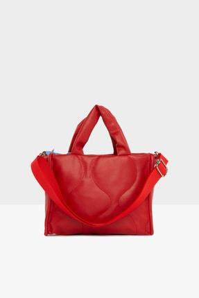 Bagmori Kadın Kırmızı  Oval Nakışlı Puf Şişme Çanta M000005405 2
