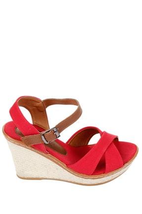 GÖNDERİ(R) Kırmızı Keten Kadın Sandalet 37701 4
