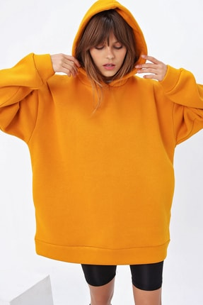 Ecrou Kadın Hardal 3 Iplik Oversize Kapşonlu Sweatshirt 0