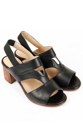 GÖNDERİ(R) Kadın Siyah Hakiki Deri Sandalet 45633 1