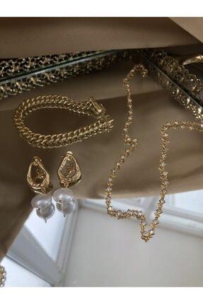 ATHIOCHE Kadın 925 Ayar Gümüş Kare Taşlı Zincir Kolye 1
