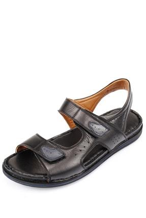 GÖNDERİ(R) Erkek Siyah Hakiki Deri Sandalet 42023 2