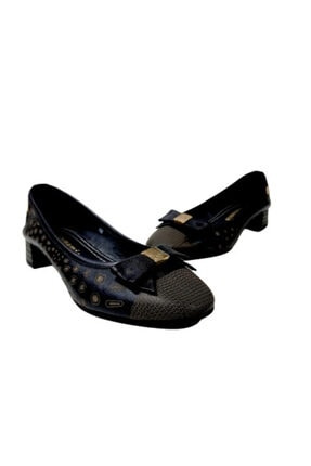 Mammamia Siyah Desenli Kısa Topuklu Kadın Ayakkabı 4