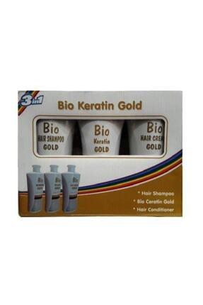 Bio Keratin Gold Brezilya Fönü 3'lü Set Şampuan 700 Ml+ Saç Kremi 700 Ml+ Keratin 700 Ml 0