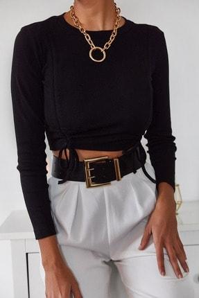 Xena Kadın Siyah Büzgülü Bluz 1KZK2-11036-02 1