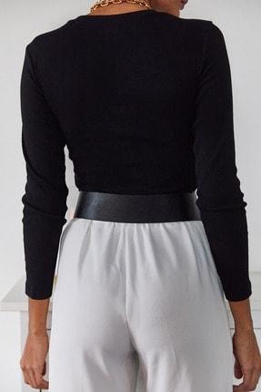 Xena Kadın Siyah Büzgülü Bluz 1KZK2-11036-02 4