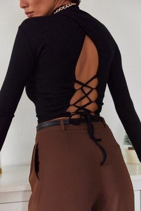 Xena Kadın Siyah Sırtı Bağlamalı Bluz 1KZK2-11045-02 0