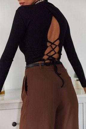 Xena Kadın Siyah Sırtı Bağlamalı Bluz 1KZK2-11045-02 3