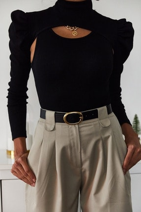 Xena Kadın Siyah İki Parçalı Prenses Kol Bluz 1KZK3-11050-02 3
