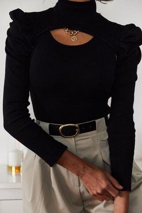 Xena Kadın Siyah İki Parçalı Prenses Kol Bluz 1KZK3-11050-02 4