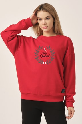 to COSMOS Oversize Sweatshirt Kırmızı Merry Christmas Geyik 1