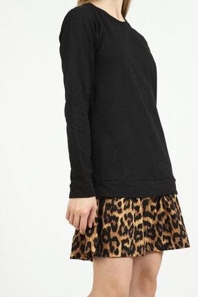 Kare Butik Kadın Siyah Leopar Desenli Sweatshirt Elbise 4