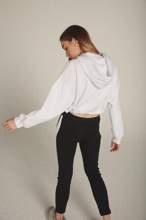 Eka Kadın Beyaz Kapüşonlu Baskılı Beli Bağcıklı Şardonlu Sweatshirt 3