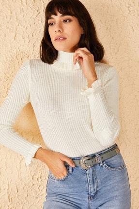 Bianco Lucci Kadın Beyaz Yakası Ve Kolları Fırfırlı Triko Bluz 0