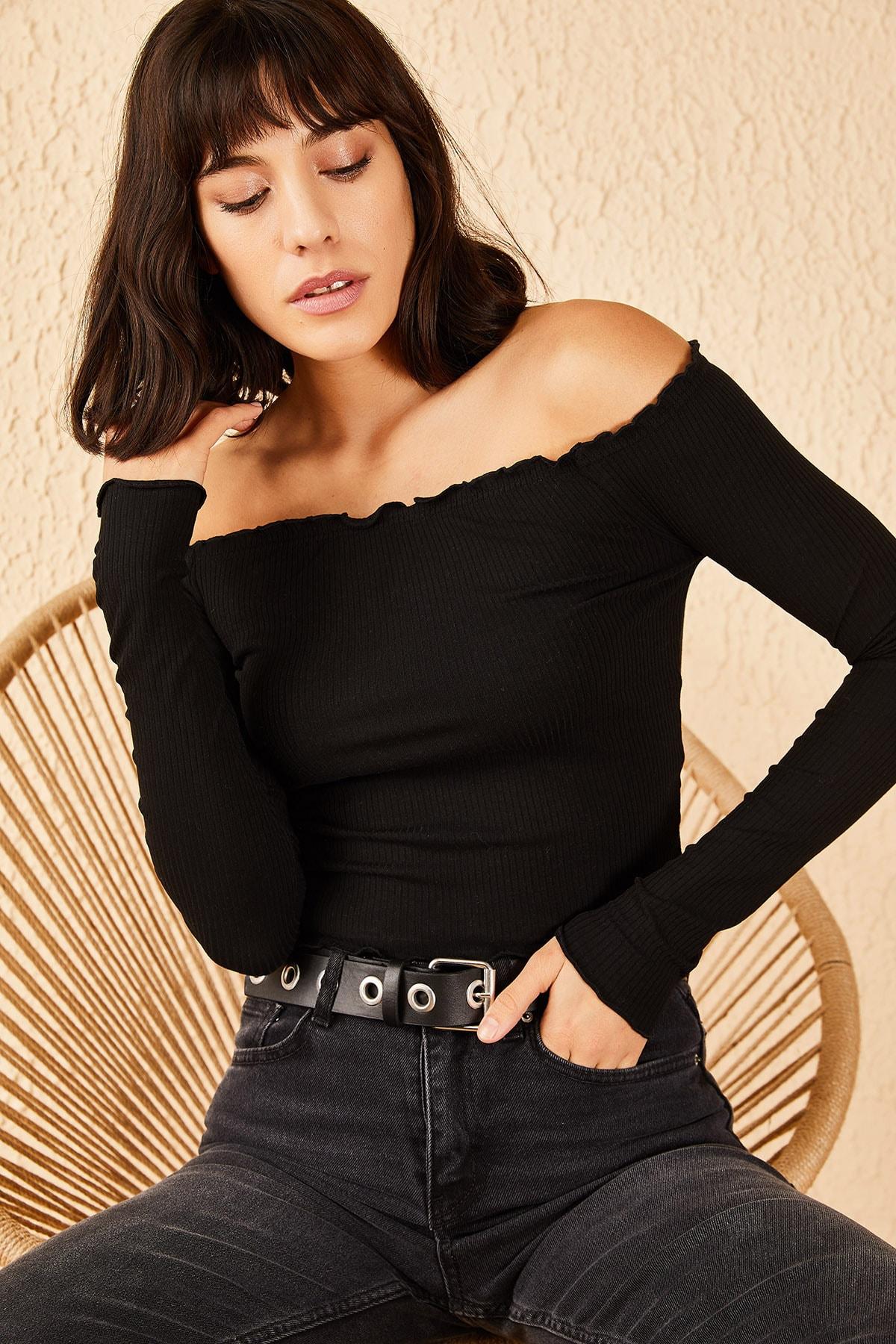 Bianco Lucci Kadın Siyah Kayıkçı Yaka Fitilli Bluz 10191059 0