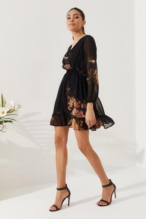 Reyon Kadın Siyah Çiçek Baskılı Elbise  20822001E2A 1