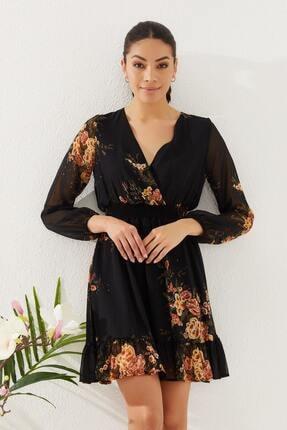 Reyon Kadın Siyah Çiçek Baskılı Elbise  20822001E2A 2