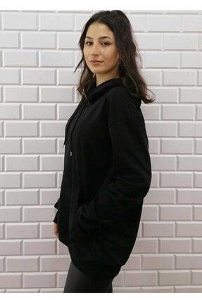 KALİK Unisex Oversize Siyah Kapüşonlu Kanguru Cep Sweatshirt 2