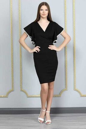 bayansepeti Kadın Siyah Esnek Krep Kumaş Kruvaze Yaka  Mini Elbise 0